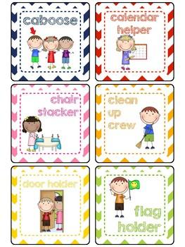 Rainbow Chevron Classroom Jobs Display