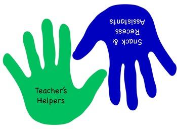 "Classroom Jobs Display Labels: ""Helping Hands"""