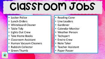 Classroom Jobs Display Labels Primary