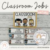 Modern BOHO RAINBOW Classroom Jobs Display | Neutral Rainbow Classroom Decor