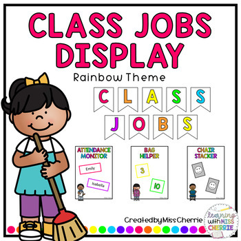 Classroom Jobs Display (Rainbow Theme) EDITABLE