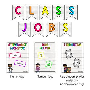 Classroom Jobs Display (Shiplap Theme) EDITABLE