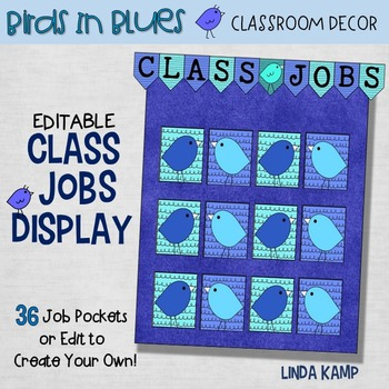 Classroom Jobs EDITABLE Display - Birds in Blues Classroom Decor