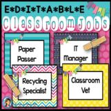 Classroom Jobs (Editable) Happy and Bright Decor