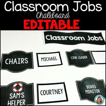 Classroom Jobs Editable   Chalkboard
