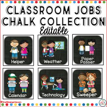 Classroom Jobs Editable Chalkboard Collection