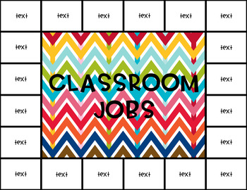 Classroom Jobs Editable Chart and Labels