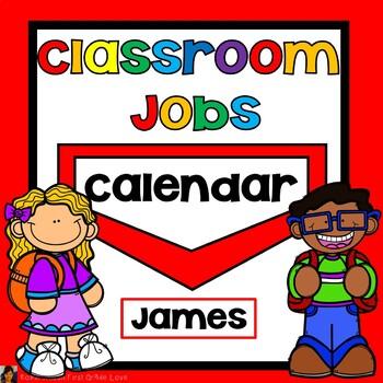 Classroom Jobs Editable Red
