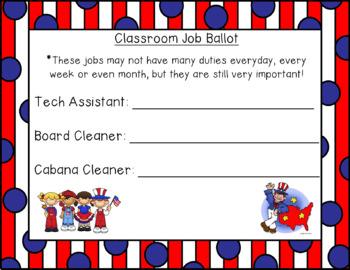 Classroom Jobs Election Ballot