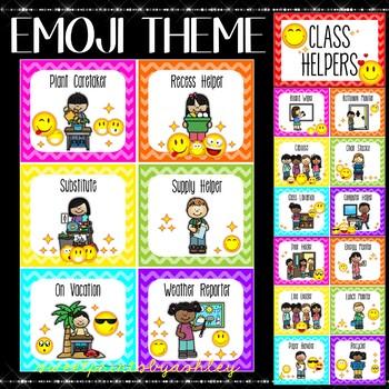 Classroom Jobs Editable (Emoji Theme)