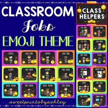 Classroom jobs emoji theme job chart by sweet prints by ashley tpt