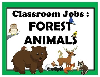 Classroom Jobs - Forest Animals