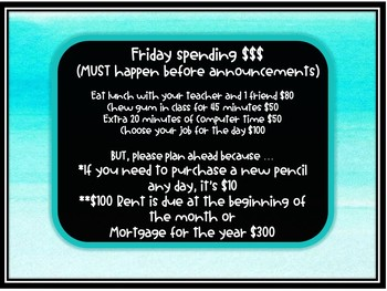 Classroom Economy Jobs *Fully Editable turquoise & black chalkboard design