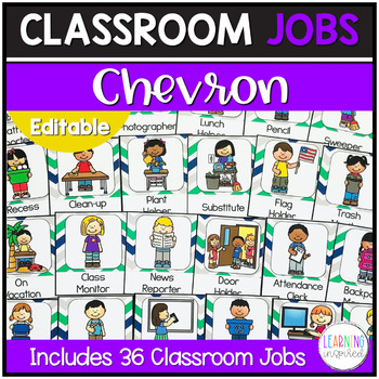 Classroom Jobs Green, Blue, and Gray Chevron Edition