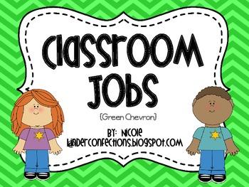 Classroom Jobs- Green Chevron