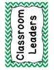 Classroom Jobs - Green Chevron Theme