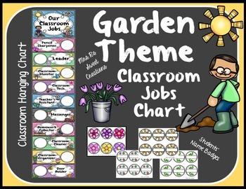 classroom jobs hanging chart garden or bug theme tpt