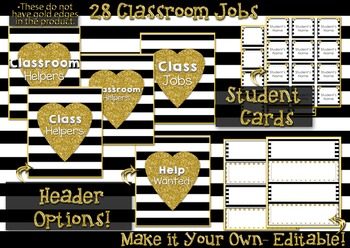 Classroom Jobs with Editable Options - Heart of Gold Clip Chart