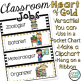 Classroom Jobs Editable with Picture: Black and Gold Class
