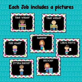 Classroom Jobs ~ Helper Chart ~ Editable ~ Black Series with Dots