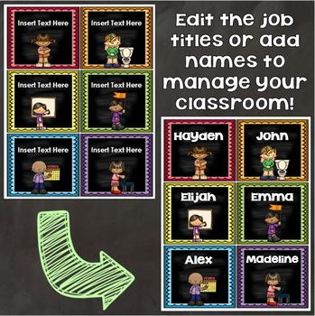 Classroom Jobs Helpers Bright Chalkboard Theme EDITABLE
