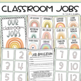 Classroom Jobs Helpers Chart Labels Signs Boho Muted Rainbow Theme EDITABLE