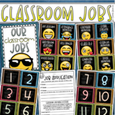Classroom Jobs Helpers Chart Labels Signs Emoji Smiley Face Theme EDITABLE