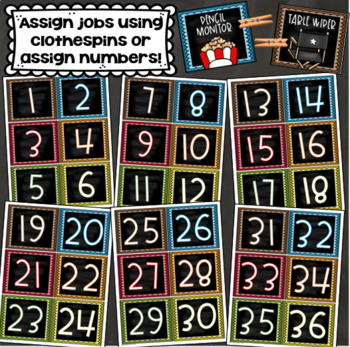Classroom Jobs Helpers Chart Labels Signs Hollywood Movies Star Theme EDITABLE