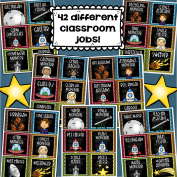 Classroom Jobs Helpers Chart Labels Signs Outer Space Theme EDITABLE