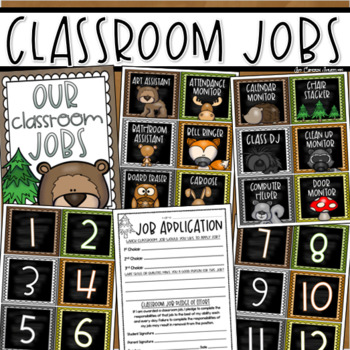 Classroom Jobs Helpers Chart Labels Signs Woodland Animals Forest Theme EDITABLE