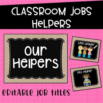Classroom Jobs Helpers Chart in Burlap