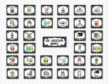 Classroom Jobs Helpers - Owls in Black and White Polka Dots - 33 cards