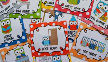 Classroom Jobs Helpers - Owls in bright multicolored polka dots - 33 cards