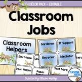 Classroom Jobs Helpers Sloth Decor EDITABLE