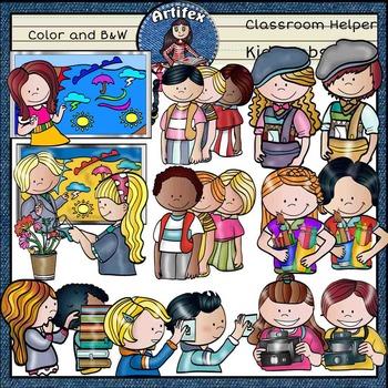Classroom Jobs / Helpers kids clip art SET 2-Color and B&W