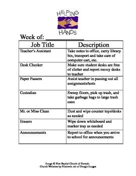 Classroom Jobs - Helping Hands