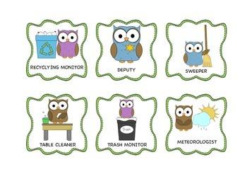 Classroom Jobs - Helping is a HOOT (owl theme)