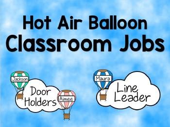 Classroom Jobs - Hot Air Balloon *Editable*