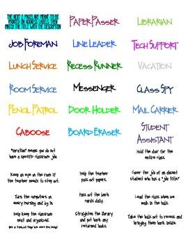 Classroom Jobs & Job Application