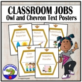 Classroom Jobs Cards with Owl and Chevron Theme