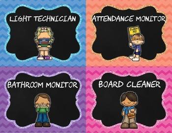 EDITABLE Classroom Jobs Chalkboard