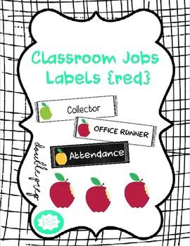 Classroom Jobs Labels {red}