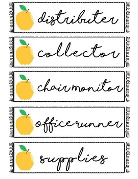 Classroom Jobs Labels {yellow}