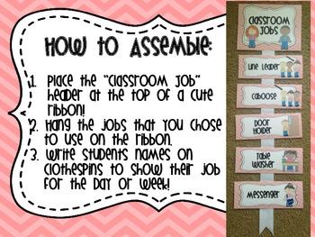 Classroom Jobs- Light Pink Chevron