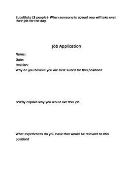 Classroom Jobs List and Application {Editable}