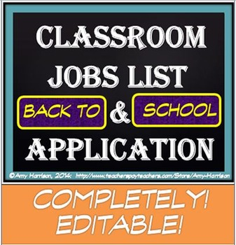 Classroom Jobs List and Applications (EDITABLE!)