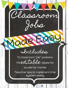 Classroom Jobs Made Easy *Shabby Chic*