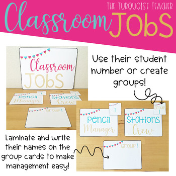 Classroom Jobs Preppy Gold and Bright Colors Editable