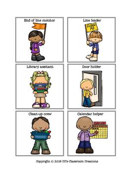 Classroom Jobs Matching Activities