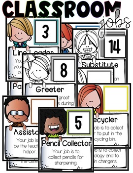 Classroom Jobs (Melonheadz) EDITABLE - Color & Black and White